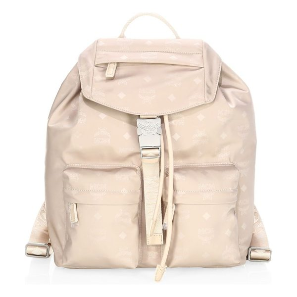 MCM dieter nylon backpack in beige - Small backpack with allover monogram print. Top handle....