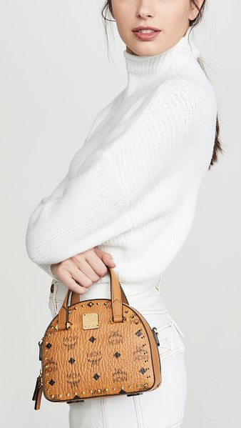 MCM essential studded outline visetos mini t bag in cognac