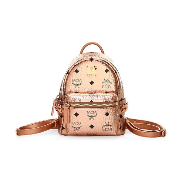 MCM extra mini stark metallic visetos backpack in berlin gold