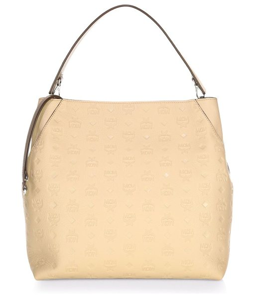 MCM klara leather hobo bag in new beige - Monogram hobo bag in rich leather. Top zipper closure....