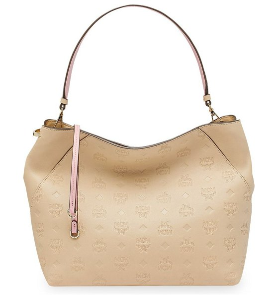 MCM klara medium leather hobo bag in latte - From the Klara Collection. Rich leather hobo bag...
