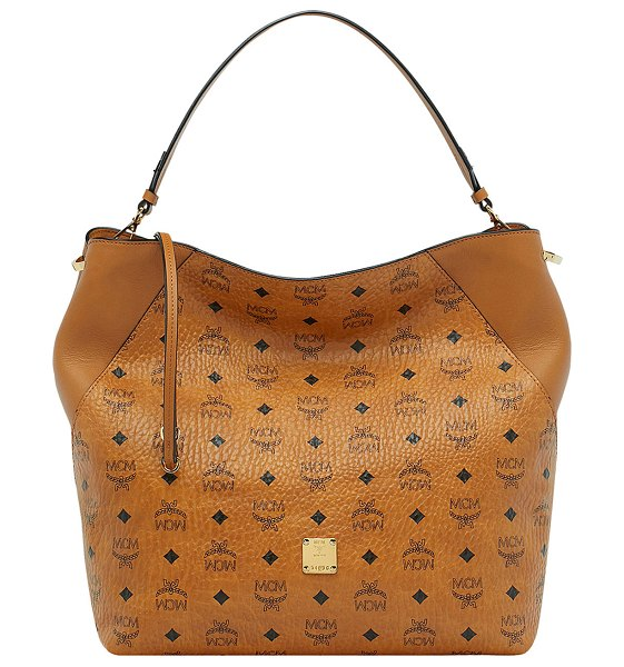 MCM Klara Visetos Large Hobo Bag in brown