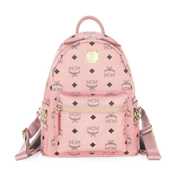 MCM mini stark side stud visetos backpack in soft pink