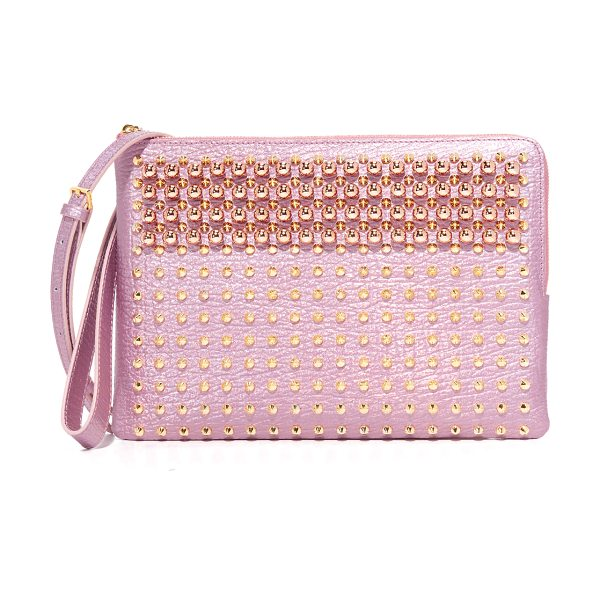 MCM pouch with shoulder strap in prism pink - A slim MCM pouch in metallic leather, finished with an...