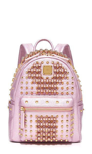 MCM stark pearl stud backpack in prism pink