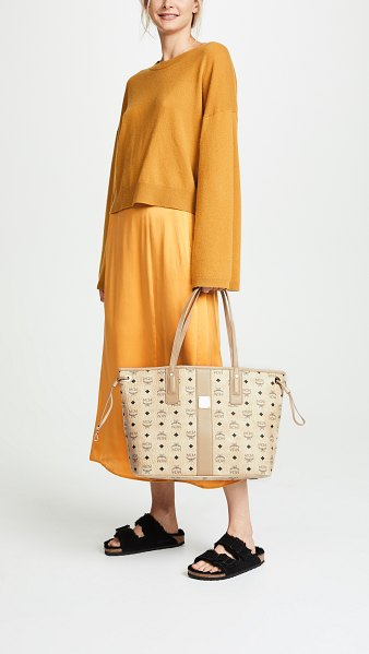 MCM medium liz shopper tote in beige - Fabric: Coated canvas Optional pouch included Lined Dust...