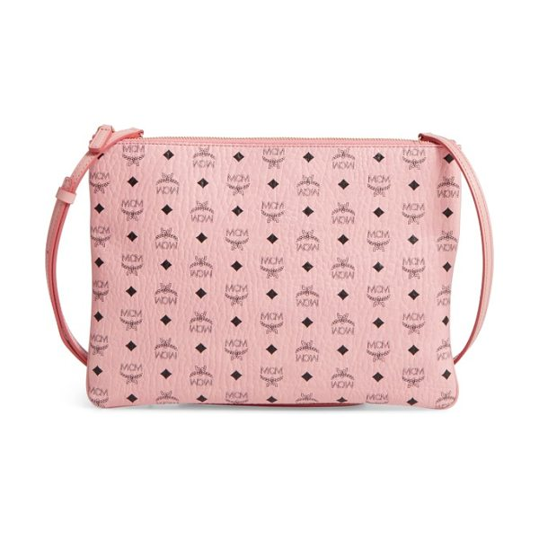 MCM medium visetos coated canvas pouch in soft pink - Stamped with the brand's instantly recognizable Visetos...