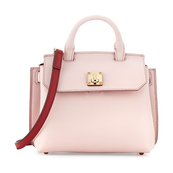 MCM Milla Leather Crossbody Tote Bag in pale mauve - MCM pebbled leather crossbody tote bag. Golden hardware....