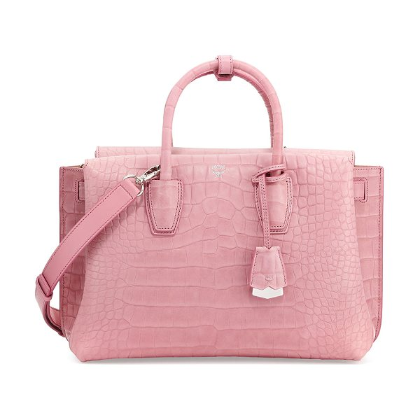 MCM Milla Medium Crocodile-Embossed Tote Bag in pink - MCM crocodile-embossed leather tote bag with silvertone...