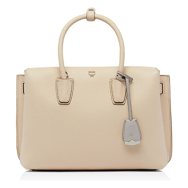 MCM Milla Medium Leather Satchel in beige/silver - Mcm Milla Medium Leather Satchel-Handbags