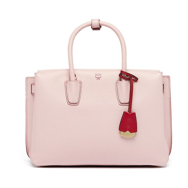 MCM Milla Medium Leather Tote Bag in pale mauve - MCM grained leather tote bag with golden hardware....