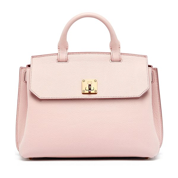MCM Milla Medium Convertible Satchel in pale mauve - MCM pebbled leather bag can be worn as a backpack,...