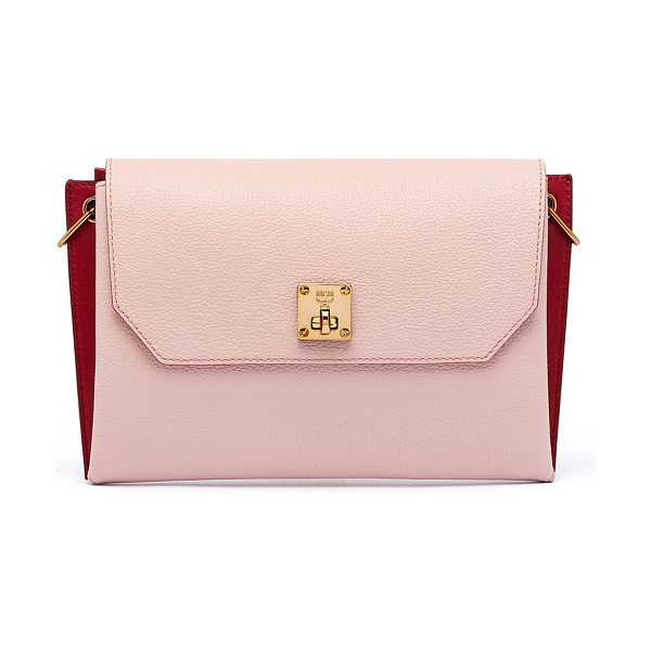 MCM Milla Small Leather Clutch Bag in pale mauve - MCM colorblock grained leather clutch bag. Shiny dark...