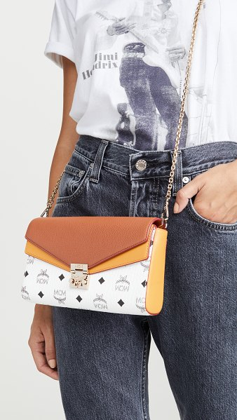 MCM millie visetos block small crossbody in white/cognac