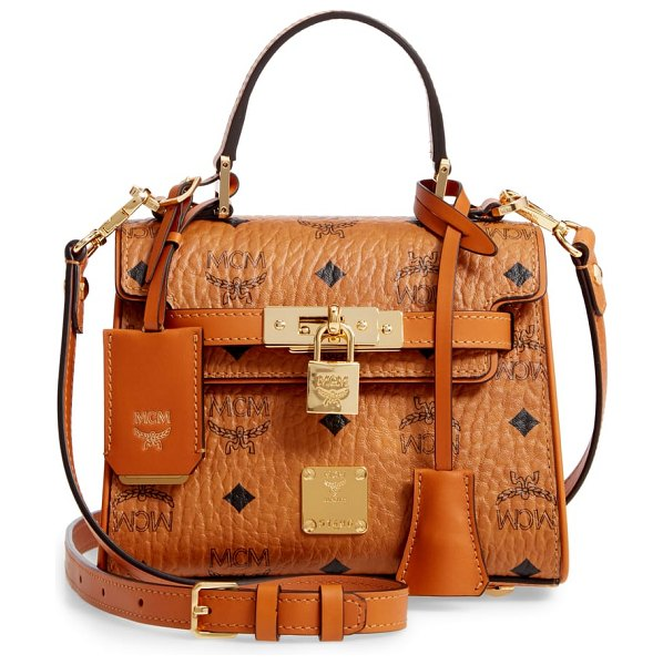 MCM mini heritage visetos coated canvas satchel in brown