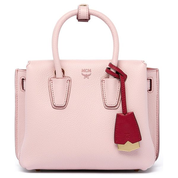 MCM 'mini milla' leather tote in pale mauve - A trio of interior compartments enhances the versatile...