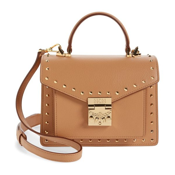 MCM patricia outline park avenue studded leather satchel in brown