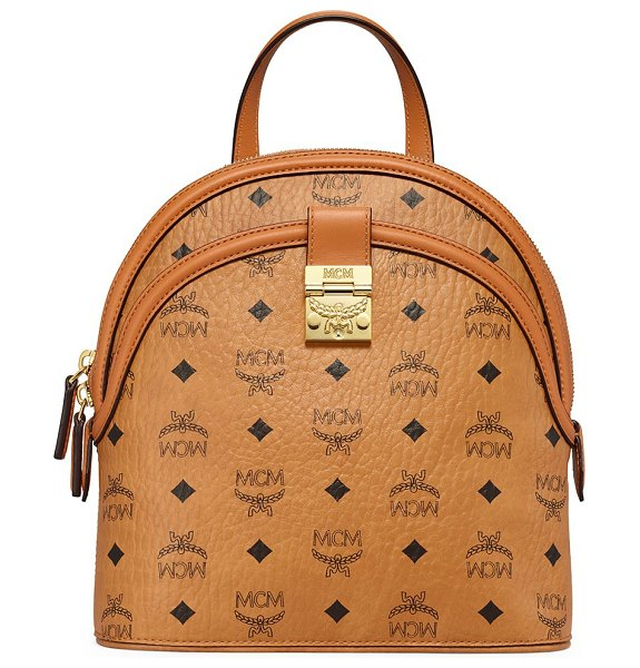 MCM small anna visetos backpack in cognac