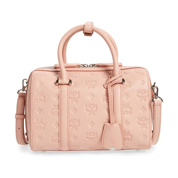 MCM small boston monogram leather satchel in pink blush - A structured satchel covered with the brand's signature...