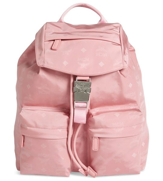 MCM small dieter monogrammed nylon backpack in pink blush