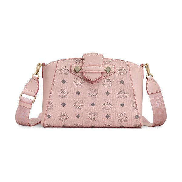 MCM small essential visetos coated canvas crossbody bag in pink
