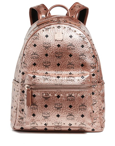 MCM small medium stark studs backpack in champagne gold - Fabric: Coated canvas Crackled, metallic finish Logo...