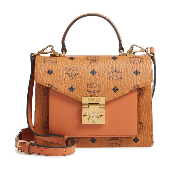 MCM small patricia visetos coated canvas & leather satchel in brown