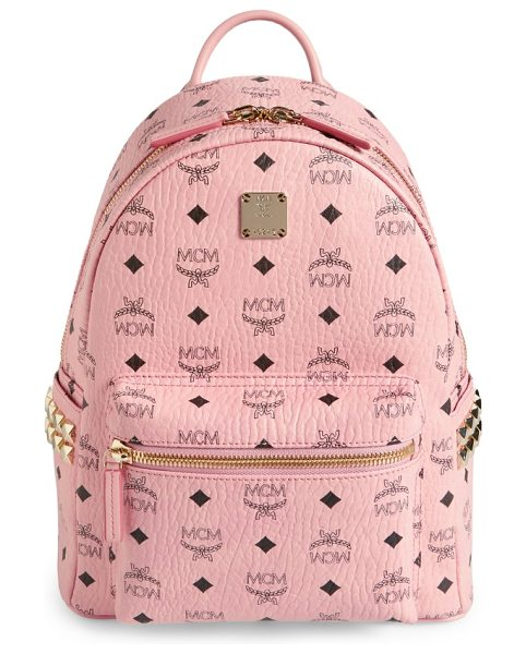 MCM small stark side stud coated canvas backpack in soft pink - Gleaming goldtone pyramid studs add a little cool-girl...