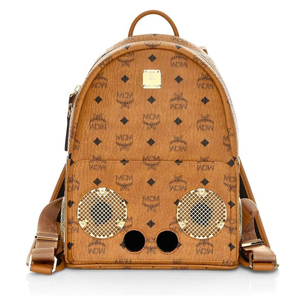 MCM small wizpak backpack in cognac - Classic backpack in signature Visetos logo-print coated...