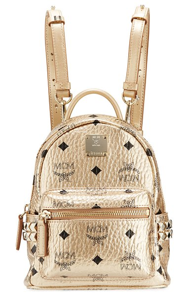 MCM Stark Extra Mini Backpack in gold