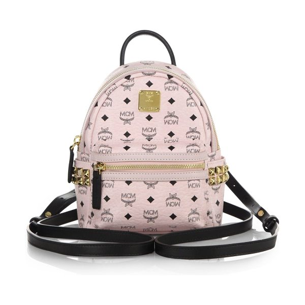 MCM stark side stud x mini coated canvas backpack in chalk pink
