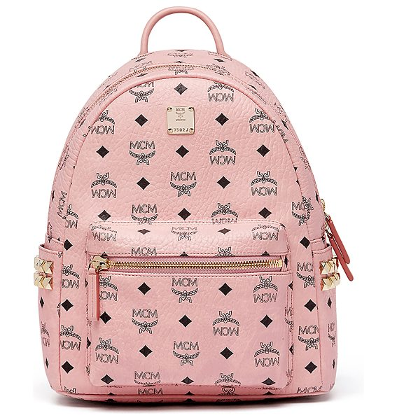 MCM Stark Small Side Studded Backpack in pink