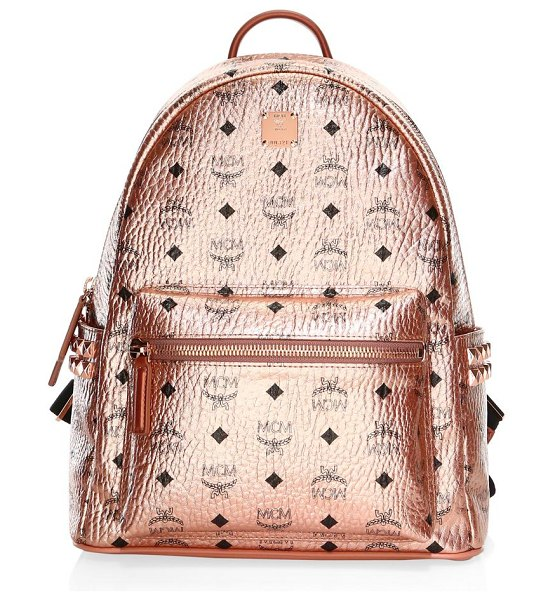 MCM small-medium stark metallic backpack in champagne - Textured shimmering coated canvas backpack with allover...