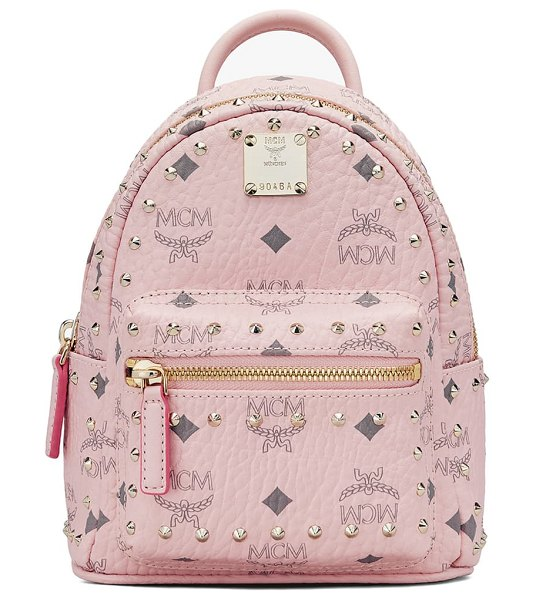 MCM mini stark stud coated canvas backpack in pink
