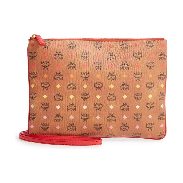 MCM visetos skyoptic coated canvas pouch in brown