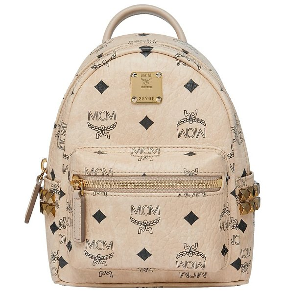 MCM mini stark studded convertible visetos coated canvas backpack in beige