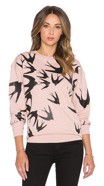 McQ by Alexander McQueen Classic sweatshirt in blush - 100% cotton. Graphic print throughout. Ribbed trim....