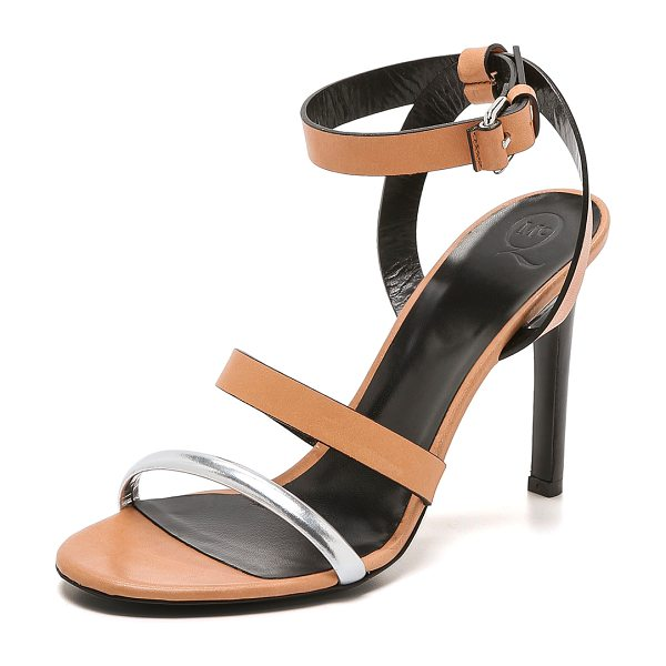 MCQ BY ALEXANDER MCQUEEN Cleo ankle strap sandals in caramel/silver - A single metallic strap brings a hit of bold shine to...