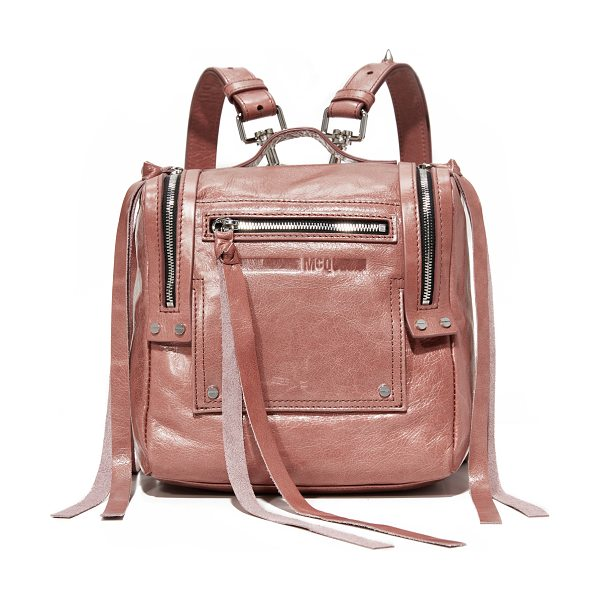McQ by Alexander McQueen mini convertible box backpack in dirty pink - Exposed zips with long pulls add an edgy feel to this...