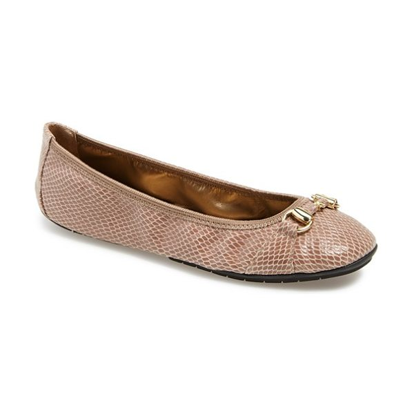 Me Too legend ballet flat in mink snake print leather - Tonal hardware glimmers on the classic profile of a soft...