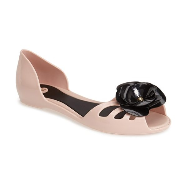 Mel by Melissa move dorsay flat in light pink - A romantic floral embellishment adds a cheerful flourish...