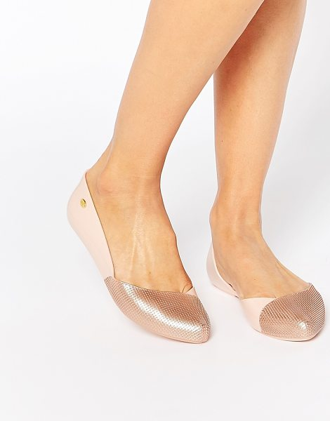 Mel by Melissa Tangerina point flat shoes in champagne - Shoes by Mel by Melissa Recyclable plastic upper Subtle...