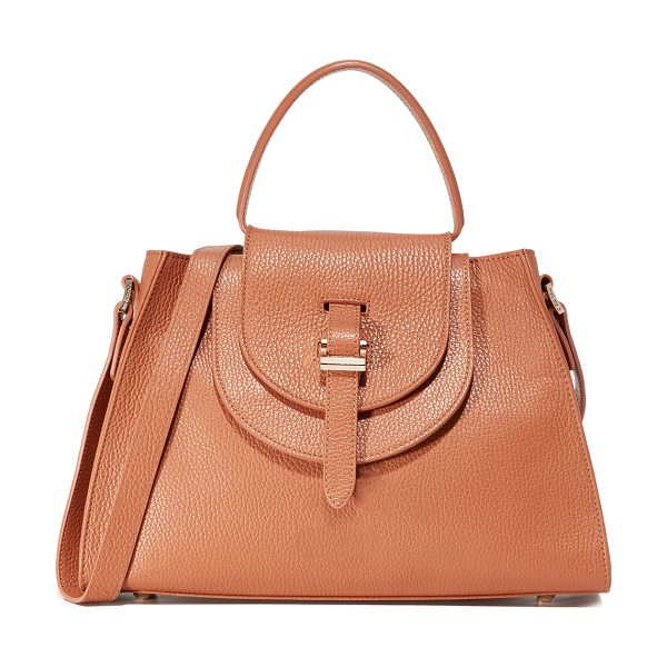 meli melo Double flap satchel bag in tan - A structured meli melo handbag in pebbled leather. A...