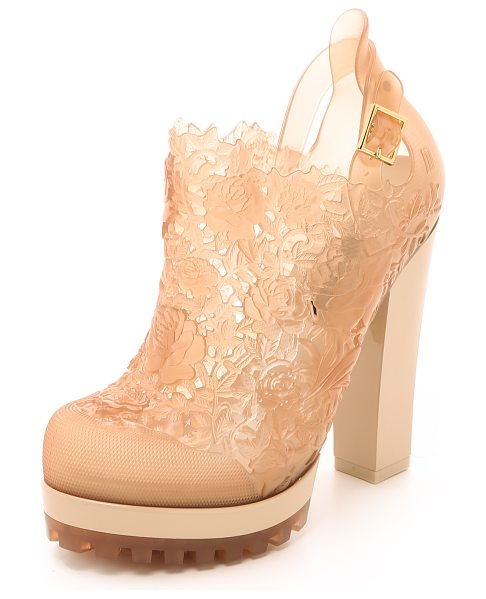 Melissa Alexandre herchovitch flower booties in nude - A collaboration with Alexandre Herchcovitch. An...