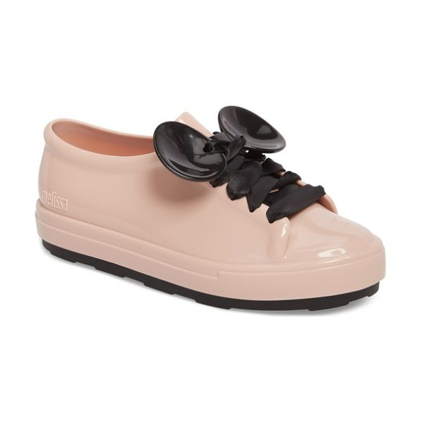Melissa be disney mouse ear sneaker in sand - Satin ribbons lace up the front and through two...
