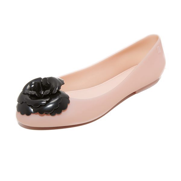 MELISSA doll fem flats - A contrast flower adds a bold accent to these matte...