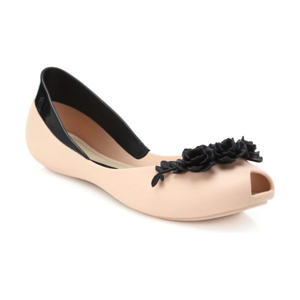 MELISSA Flower queen peep-toe flats - An utterly feminine peep-toe flat features a contrast...