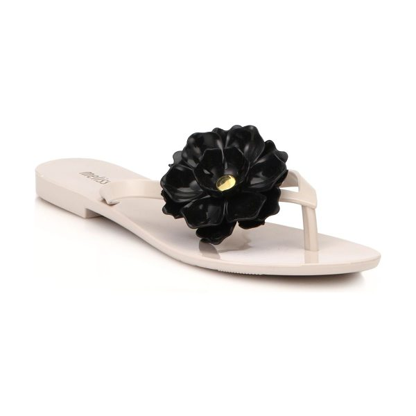 Melissa Harmonic flower flip flop sandals in beige-black