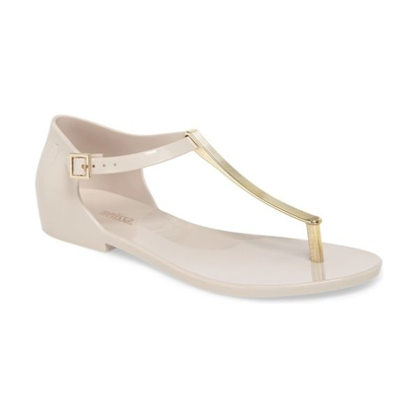 Melissa honey chrome thong sandal in beige gold - A textured metallic thong strap adds a glam update to a...