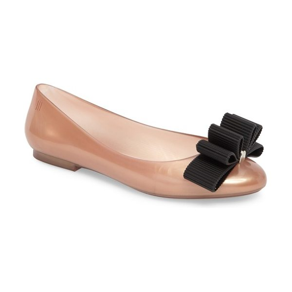 MELISSA + jason wu doll bow flat - A multilayered bow centered by a polished logo bar tops...